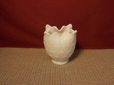 """Vintage Imperial Glass White Milk Glass Doeskin Ruffled Top Vase 4 7/8"""" Tall"""