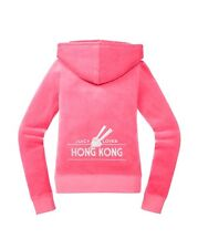 JUICY COUTURE DESTINATIONS HONG KONG PASSION PINK VELOUR HOODIE XL 14 16 £120!