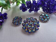 WEISS Blue AB Rhinestone Pin &  Earring Set - Demi Parure