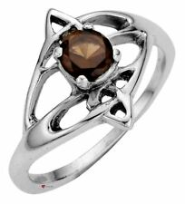 Swirl Design Offset Smokey Quartz Stone Ring Crafted Sterling Silver Celtic Open
