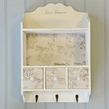 White Wall Display Cabinet Shelf Storage Unit Drawers Shabby Chic Style Hooks