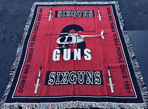 SIXGUNS 6 Guns Since '81 Military Helicopter Reconaissance Tapestry Afghan Throw