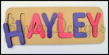 Wooden Personalised Children Kids Name Puzzle Jigsaw Gift Present RAW PAINTED