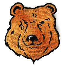 Embroidered Cute Brown Orange Bear Iron on Sew on Kids Patch