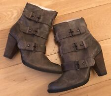 Luxury Rebel Brown Leather Ankle Boots Size 37