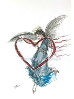 Print of original ink watercolour painting angel heart contemporary illustration