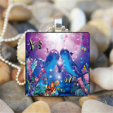 Fashion Silver charm Square Glass Gem Pendants Necklaces Souvenirs Jewelry KD125