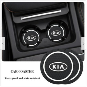 2x Soft Silicone Anti-Slip Car Cup Bottle Holder Pad Mat Coaster For Kia