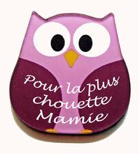 """Magnet chouette rose message """"Pour la plus chouette Mamie"""" fête grands mères"""
