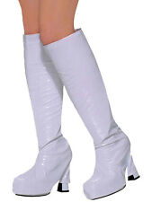 Womens Go Go Boot Covers 19060s 1970s Hippy Fancy Dress White Accessory Mod GoGo