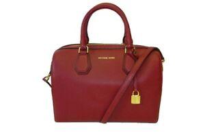 Michael Michael Kors Mercer Duffle Bag Leather Cherry Crossbody New