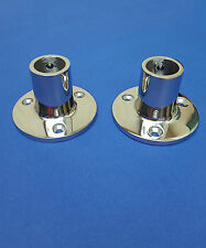 "Pair Rail/Stanchion 65mm Base 7/8"" 22mm Tube 90 Degree Stainless Steel 316 Boat"