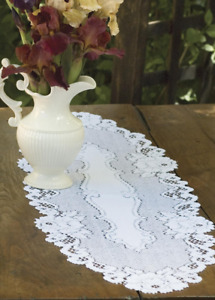 """Heritage Lace White Vintage Rose 14"""" x 48"""" Table Runner - Made in the USA"""