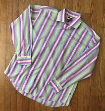 Vintage Tommy Hilfiger Striped Multi Color Button Down Shirt Colorblock 90s Sz L