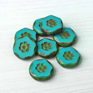 6 Czech Glass Beads 15mm Flowers Turquoise Tones - CB067
