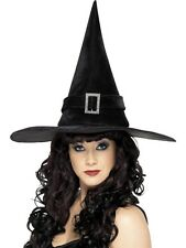 Halloween Witch Hat with Diamante Buckle, Black Adult Size