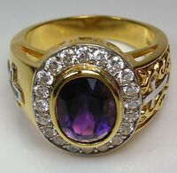 AMETHYST 14K YELLOW GOLD CHRISTIAN BISHOP SILVER RING CRUCIFIX CROSS NEW
