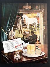 1948 Vintage Print Ad 40's WHITE HORSE Scotch Whisky Bottle Tray Green Curtain