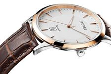 BUREI Men's Watches Ultra-Thin Dial with Rose Gold Hand and Brown Leather Strap