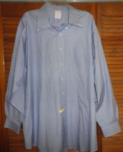 BROOKS BROTHERS Classic Men BLUE Micro Check Non Iron Shirt, Size 18 34