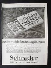Original 1925 Schrader Tire Valves Ad 10 x 13.5 WORLD'S BUISEST TRAFFIC CENTERS