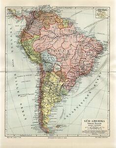 1898 SOUTH AMERICA POLITICAL MAP BRAZIL ARGENTINA PERU CHILE VENEZUELA AntiqMap