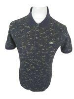 Mens Lacoste Camo Polo Shirt Blue Size 4 Small Medium Slim 38 Chest