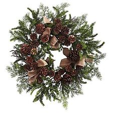 """Nearly Natural Pine & Pine Cone Wreath with Burlap Bows- 24"""" - Green/Brown NEW"""