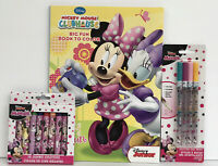 New 3pc Disney Minnie Mouse Coloring & Activity Book, Crayons & Glitter Gel Pens