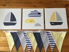 HANDMADE NURSERY BUNTING CANVASES  NAUTICAL BOATS CLOUDS navy yellow baby boy