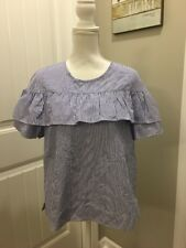 New J Crew Edie Top in Blue/White Shirting Stripe Sz 16 F9398