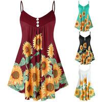 Women Plus Size V Neck Sleeveless T Shirt Button Sunflower Vest Tops Blouse UK