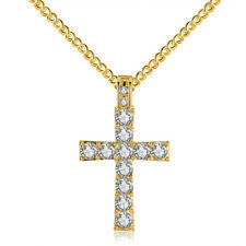 White Topaz Gold Cross Man and Women Jewelry Pendant Necklace Gift 24'' NL279