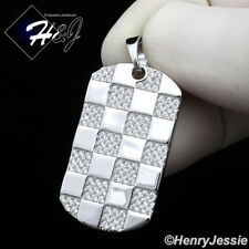 MEN 925 STERLING SILVER LAB DIAMOND ICED OUT BLING DOG TAG CHARM PENDANT*SP217