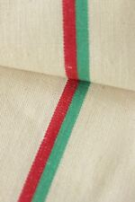 Vintage French Fabric unused linen cotton Christmas ~ red green stripes ~