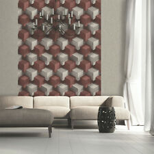 3D Feature Wallpaper Cube Dark Red Grey Slate Stone Effect Blocks Modern Funky