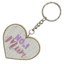 Lasting Memories 6cm 2 Layer MDF 'Heart' Key Ring - No.1 Mum