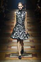 Lanvin Catwalk Fall Black Silver Floral 2014 Dress F34 UK 6