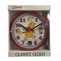 "Vintage Disney Winnie The Pooh Red Plastic Battery 8-1/2"" Wall Clock 1991 19130"