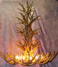 "REPRODUCTION MULE DEER ANTLER TALL SPRUCE CHANDELIER 38""x40"", RUSTIC LODGE LAMPS"