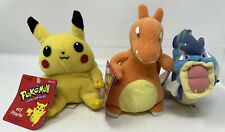 "Vintage 1998 Hasbro 5"" Pokemon Plush Lot Pikachu Charizard & Gyarados w/ Tags!"