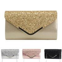 Women's Evening Diamante PU Clutch Bag Party Prom Envelope Handbag Shoulder Bags