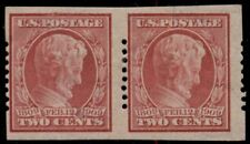 US #368, 2¢ Lincoln, Imperf Coil Pair w/Schermack Type I perf, 3mm spacing LH