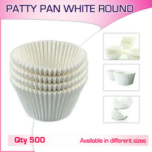 Patty Pans Muffin Cases White 500/Pk Cake Boards Cupcake Liner Boxes Baking Cups