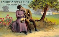 """""""Having a Good Time"""" at Indianapolis Indiana~Couple Under Tree~1910 Postcard"""