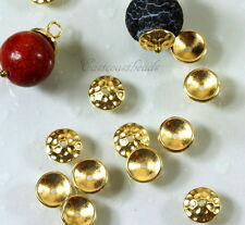Hammered Bead Caps, TierraCast, 8mm., Gold Plated, 10 Pieces, 6225