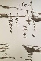 "JOSE TRUJILLO MODERN IMPRESSIONISM ABSTRACT INK WASH BOATS WATER SEA 9X6"""