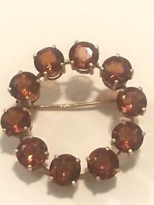 18k Gold Antique Round Wreath 6ct tw Citrine Gemstone Pin Brooch