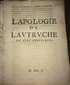 L'APOLOGIE DE L'AUTRUCHE EN VERS BURLESQUES . 1650.