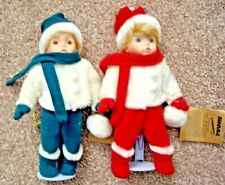 Seymour Mann's Porcelain Dolls Miki & Mikey With Stands New Christmas Snow Dolls